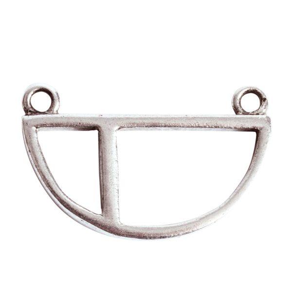 Open Pendant Split Large Half Circle Double LoopAntique Silver