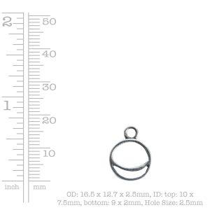 Open Pendant Split Mini Circle Crescent Single Loop<br>Antique Gold