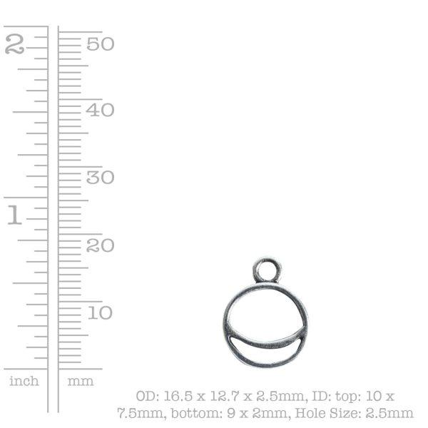 Open Pendant Split Mini Circle Crescent Single LoopAntique Gold