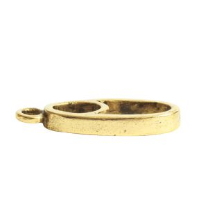 Open Pendant Split Mini Oval Full Single LoopAntique Gold