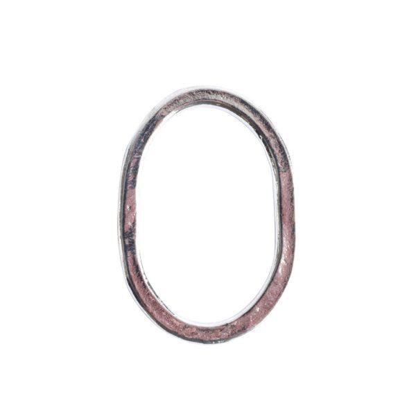 Hoop Hammered Large OvalSterling Silver Plate