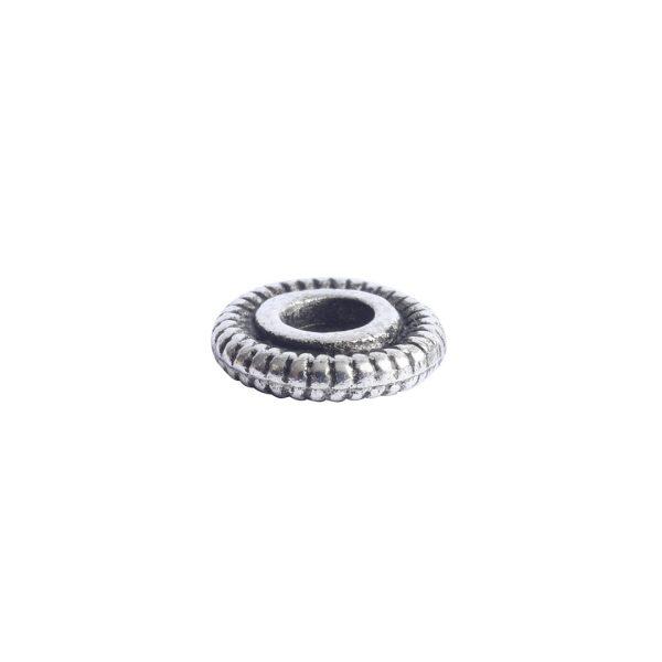 Spacer Bead 6mm Line EdgeAntique Silver