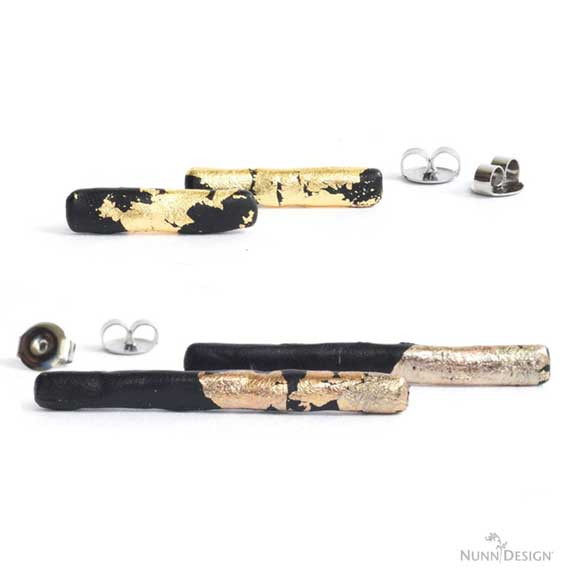 Bar Earrings with Crystal Clay & Gilding Flakes