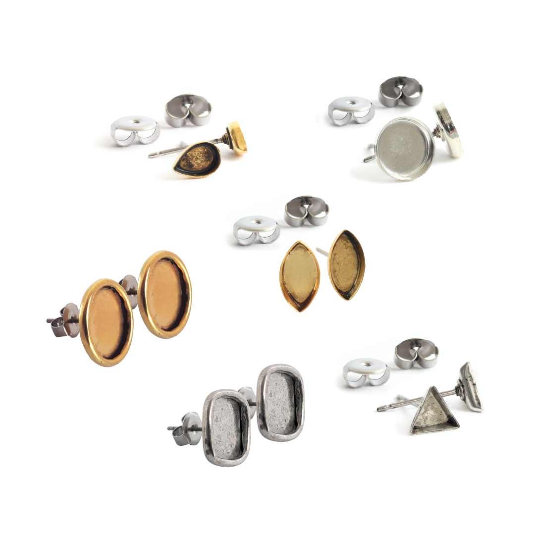 Post Earrings Brass Bezels