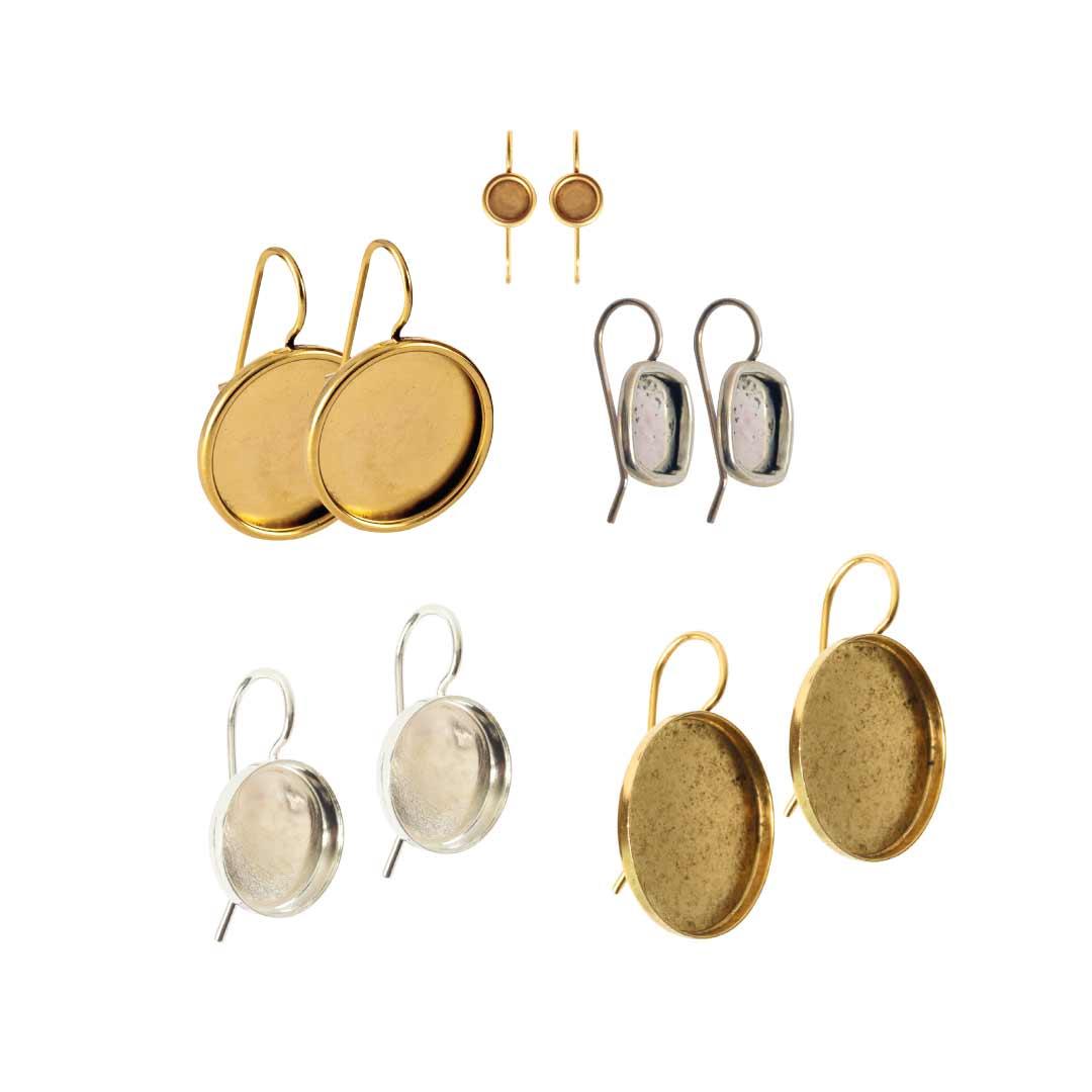 Wire Hoops Brass Bezel Earrings
