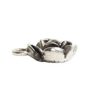 Charm Mini Flower PetalAntique Silver