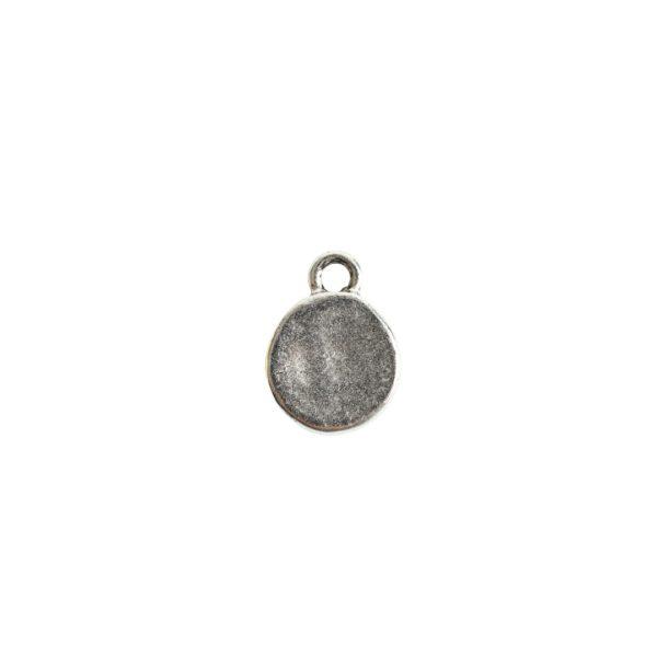 Charm Mini Hammered CircleAntique Silver