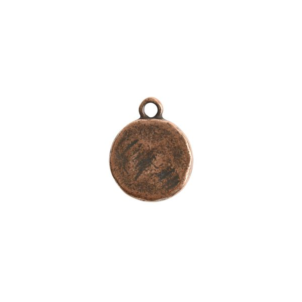 Charm Small Hammered CircleAntique Copper
