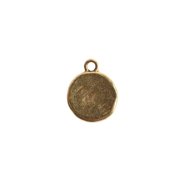 Charm Small Hammered CircleAntique Gold