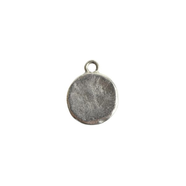 Charm Small Hammered CircleAntique Silver