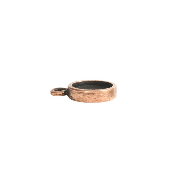 Itsy Link Hammered Circle Single LoopAntique Copper