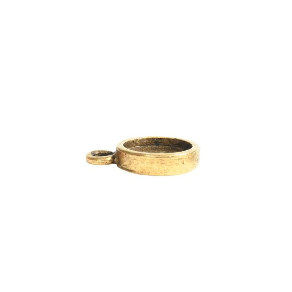 Itsy Link Hammered Circle Single LoopAntique Gold