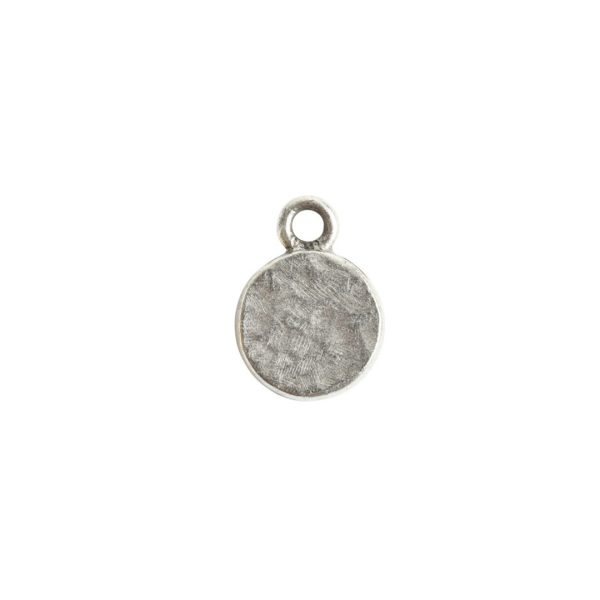 Itsy Link Hammered Circle Single LoopAntique Silver