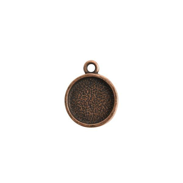 Mini Link Hammered Circle Single LoopAntique Copper