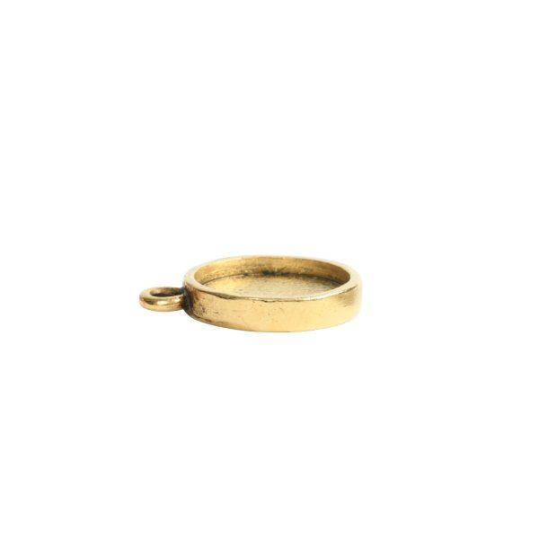 Mini Link Hammered Circle Single LoopAntique Gold