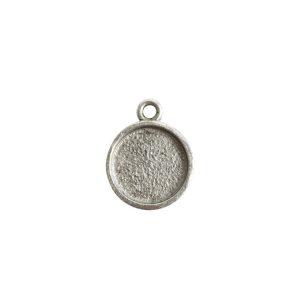 Mini Link Hammered Circle Single LoopAntique Silver