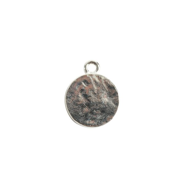 Mini Link Hammered Circle Single LoopSterling Silver Plate