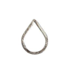 Hoop Hammered Large Drop 27.2x20.7mm DiameterSterling Silver Plate