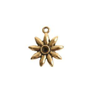 Tiny Bezel Burst Single LoopAntique Gold