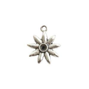 Tiny Bezel Burst Single LoopAntique Silver
